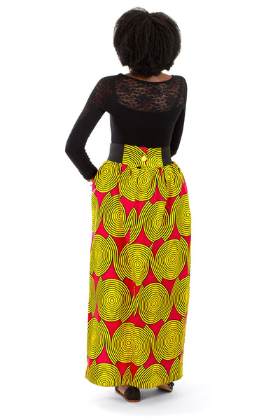 African Maxi Skirt - Red with Yellow Concentric Print - Africas Closet