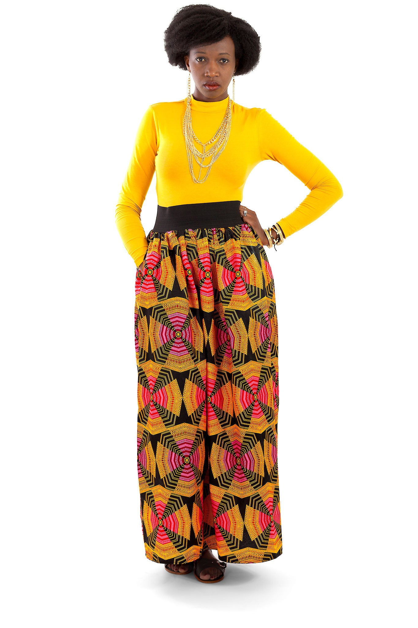 African Maxi Skirt - Orange, Pink, Black Pinwheel Print - Africas Closet