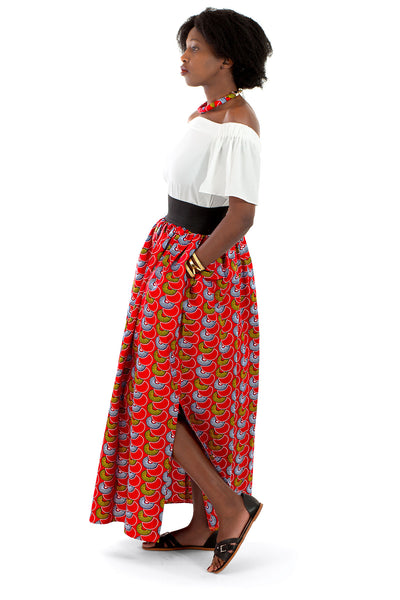 African Maxi Skirt - Red with Blue and Gold Scallops Print - Africas Closet