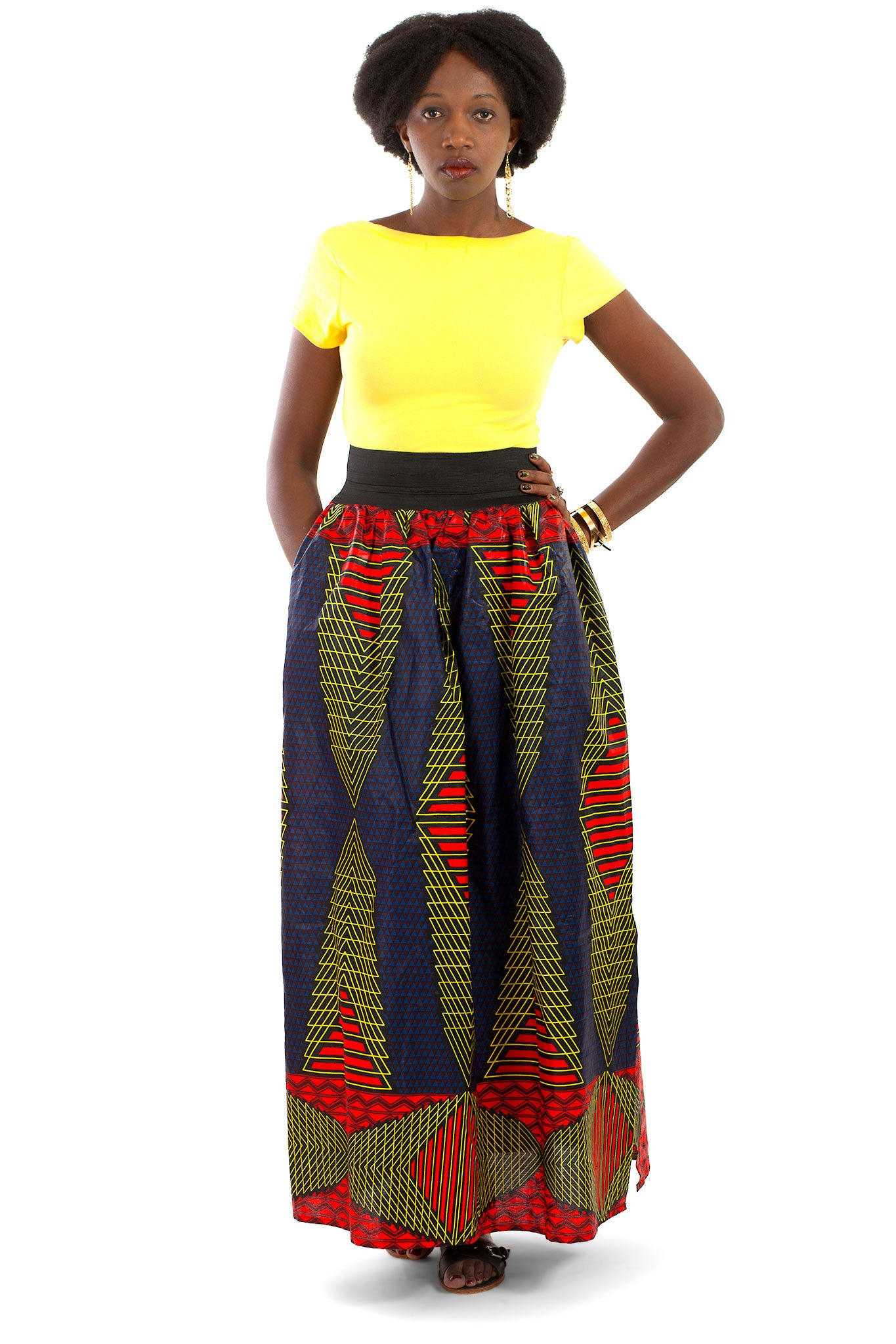 African Maxi Skirt - Red, Blue, Yellow Triangles Print - Africas Closet