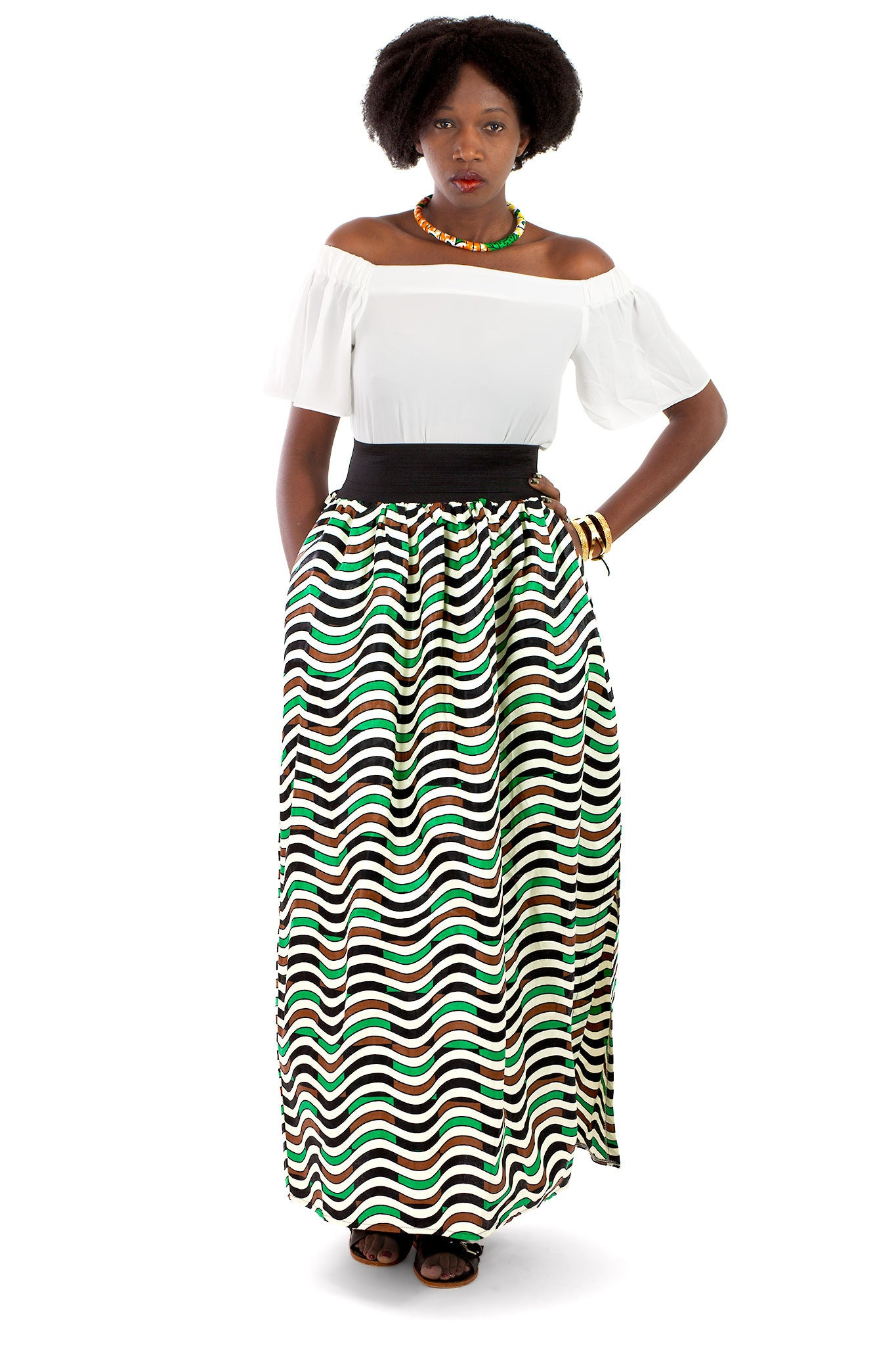 African Maxi Skirt - Green, White, Brown Waves Print - Africas Closet