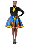 African High-Waisted Midi Flare Skirt - Dashiki Royal Blue/Yellow Key Print - Africas Closet