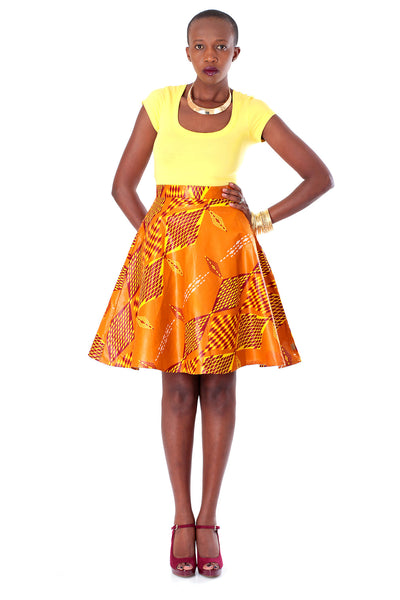 African A-line Midi Flare Skirt-Golden Brown, Yellow and Burnt Maroon Red Diamond Print - Africas Closet