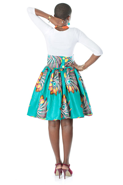 African High-Waisted Midi Flare Skirt - Teal Blue, Lotus Floral Print - Africas Closet