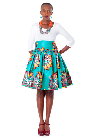 African High-Waisted Midi Flare Skirt - Teal Blue, Lotus Floral Print
