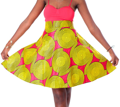 African A-line Midi Flare Skirt - Red with Yellow Concentric Print - Africas Closet