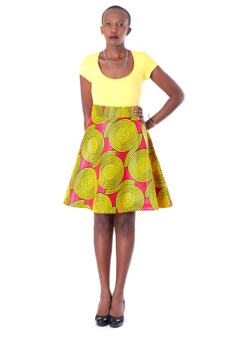 African A-line Midi Flare Skirt - Red with Yellow Concentric Print
