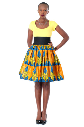 African High-Waisted Midi Flare Skirt - Blue, Yellow and Golden Brown Pyramid Print