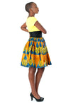 African High-Waisted Midi Flare Skirt - Blue, Yellow and Golden Brown Pyramid Print - Africas Closet
