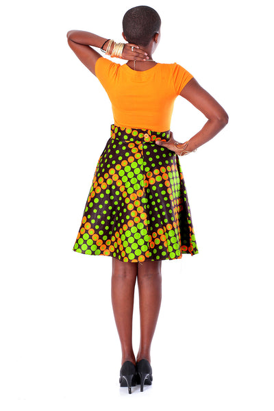 African A-line Midi Flare Skirt -Lime Green and Orange Dice Print - Africas Closet