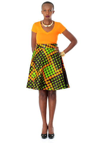 African A-line Midi Flare Skirt -Lime Green and Orange Dice Print