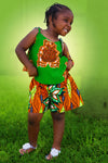 African Prints  Kids Tausi Shorts And Top Set- Green/Orange Floral Print - Africas Closet