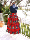 African Maxi Skirt - Red/Black Checkered Floral Print - Africas Closet