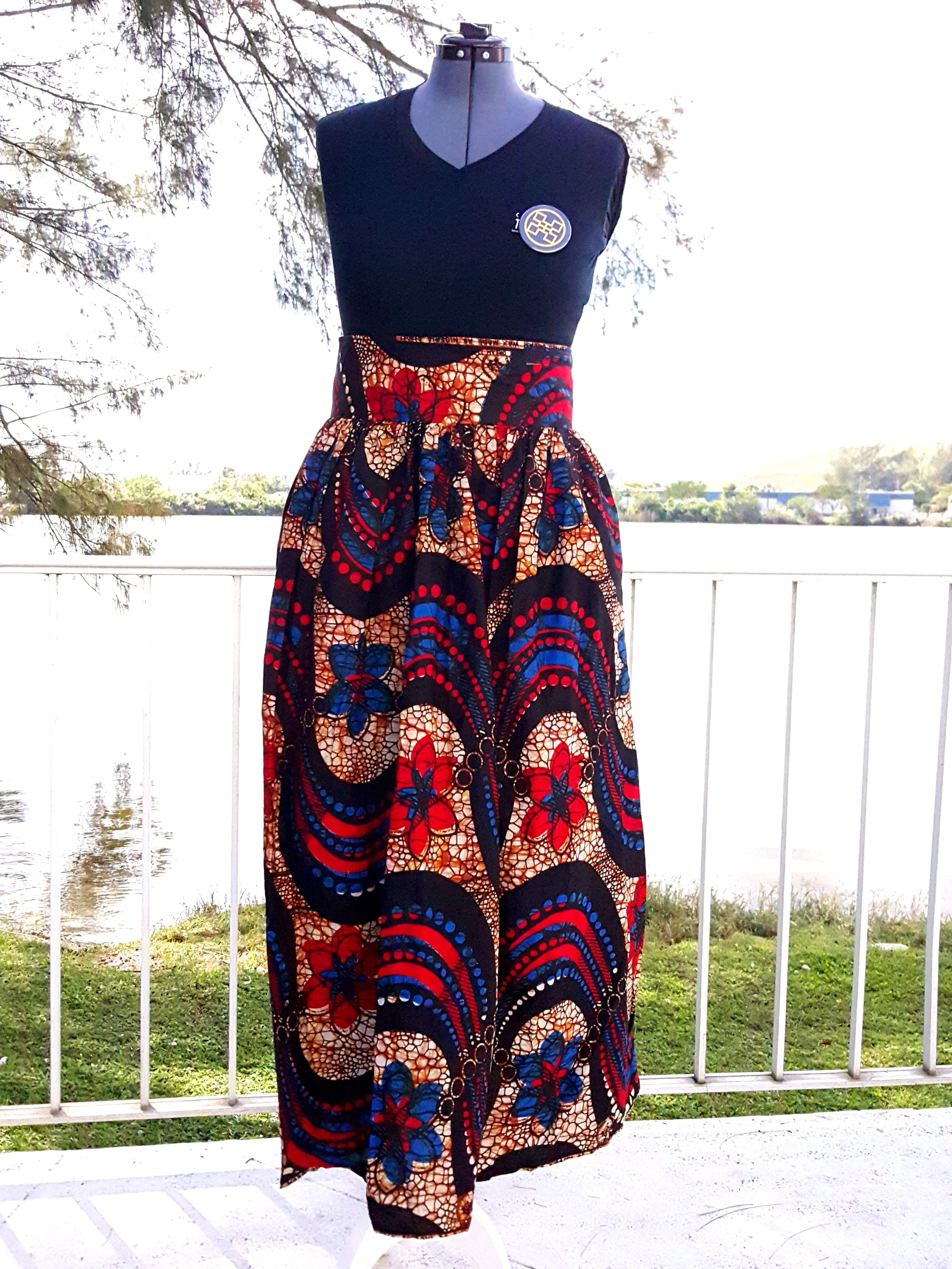 African Maxi Skirt - Blue/Red/Black Wave Floral Print - Africas Closet