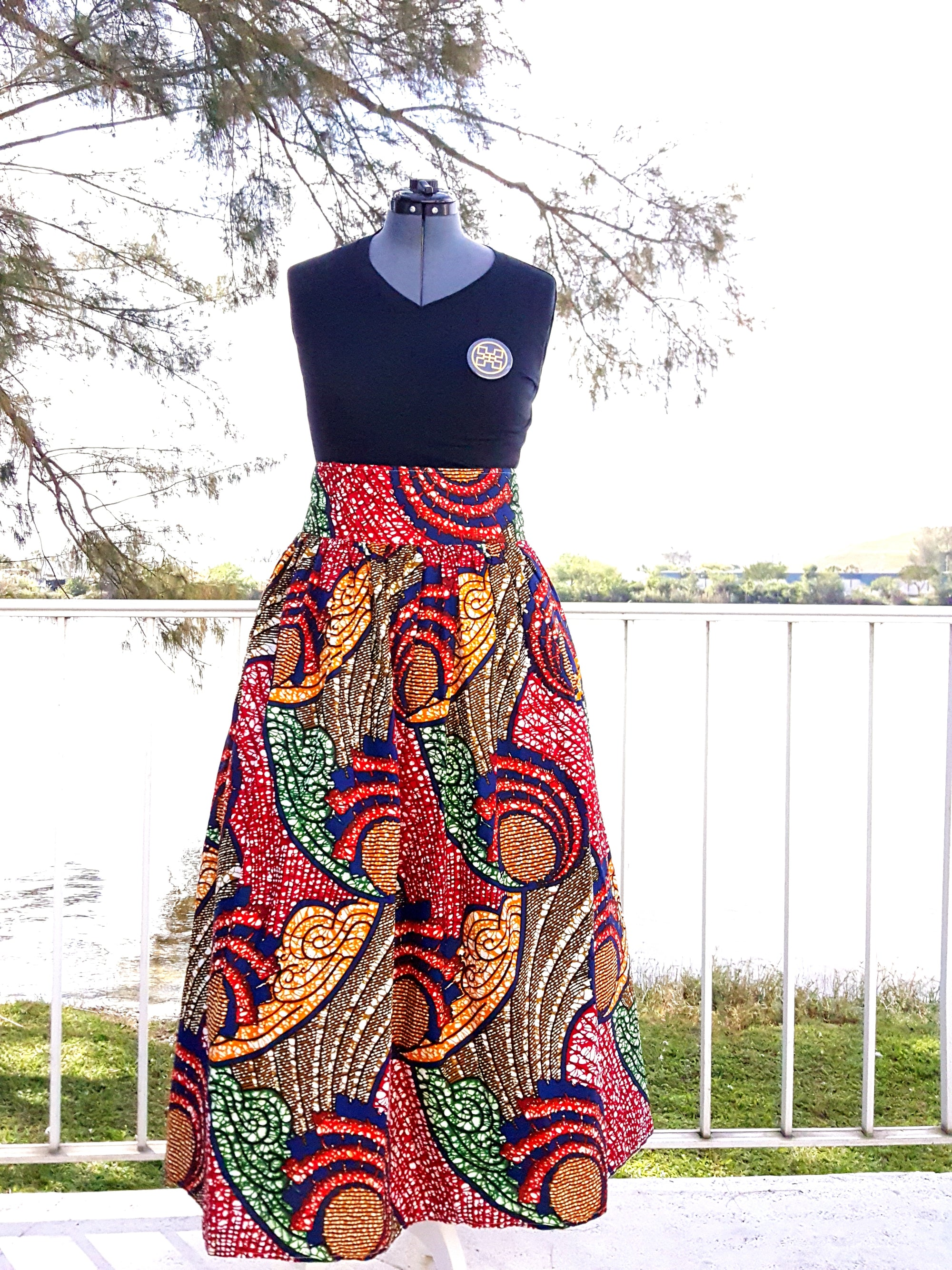 African Maxi Skirt - Blue Red Swirl Print - Africas Closet
