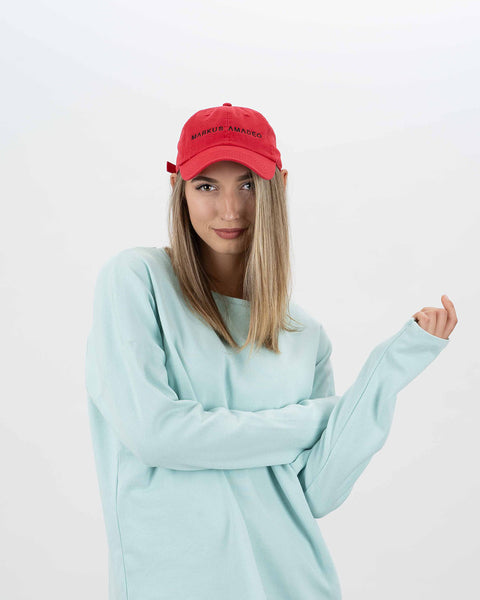 candy red organic cotton cap