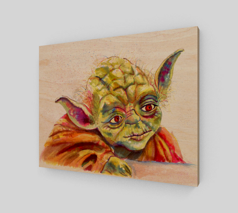 Fan Art Yoda Wood Print