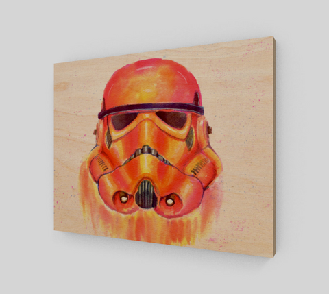 Fan Art Storm Trooper Wood Print