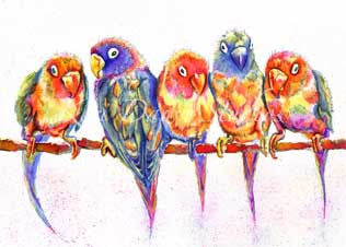 Colourful Birdies Print