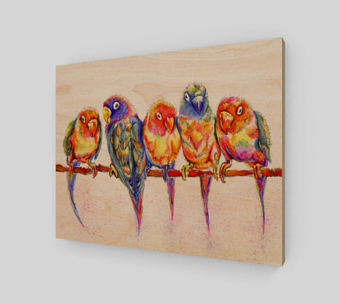 Colourful Birdies Wood Print