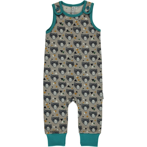 Maxomorra Organic Cotton Bear Playsuit Dungaree
