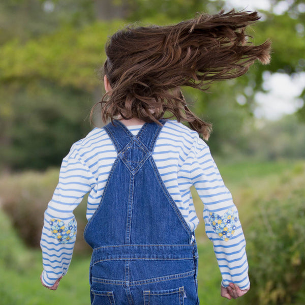 Kite Organic Clothing Breton Heart Top with dungarees