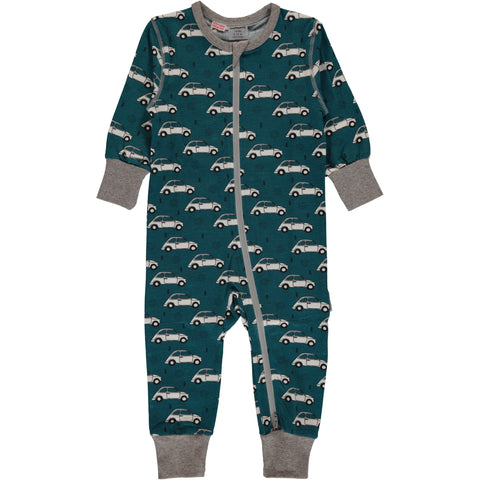 Maxomorra Organic Cotton Rompersuit Zip Classic Cars