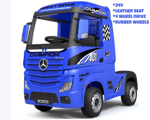 24V Blue Licensed Mercedes Benz Actros Truck 4WD EVA Tires Leather Seat