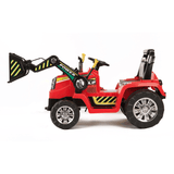 12v Tractor with Moving Loader Bucket  Red
