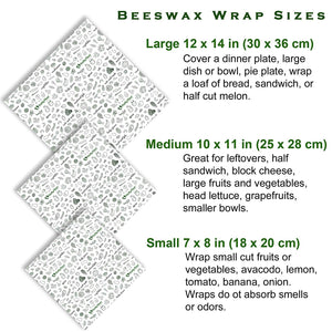 Bees Wax Wrap Assorted 3 Pack, Plastic Wrap Alternative