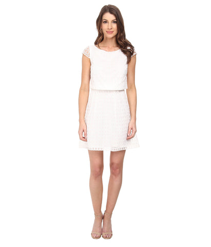 White Short Sleeve Day Dress by Jessica Simpson, Size 8
