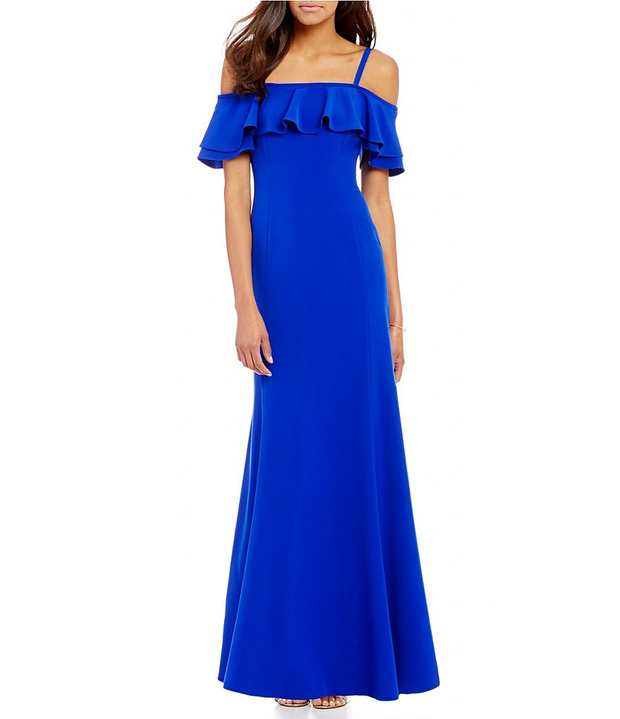 Tahari ASL Ruffle Cold-Shoulder Gown, Size 6