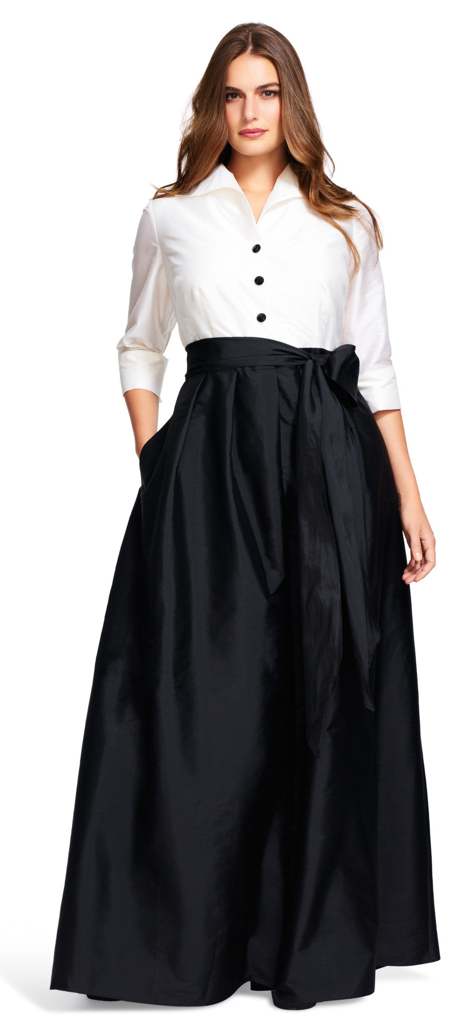 FOR SALE Black and White Maxi Three Quarter Sleeves V-Neck Dress by Adrianna Papell, Size 16