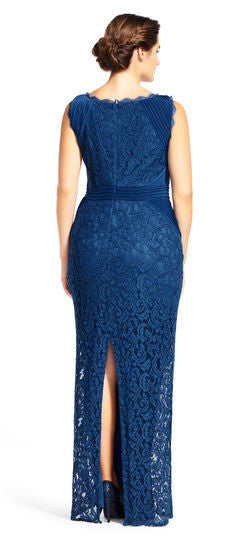 FOR SALE Blue Lace Maxi Sleeveless Jewel Gown by Adrianna Papell, Size 14W