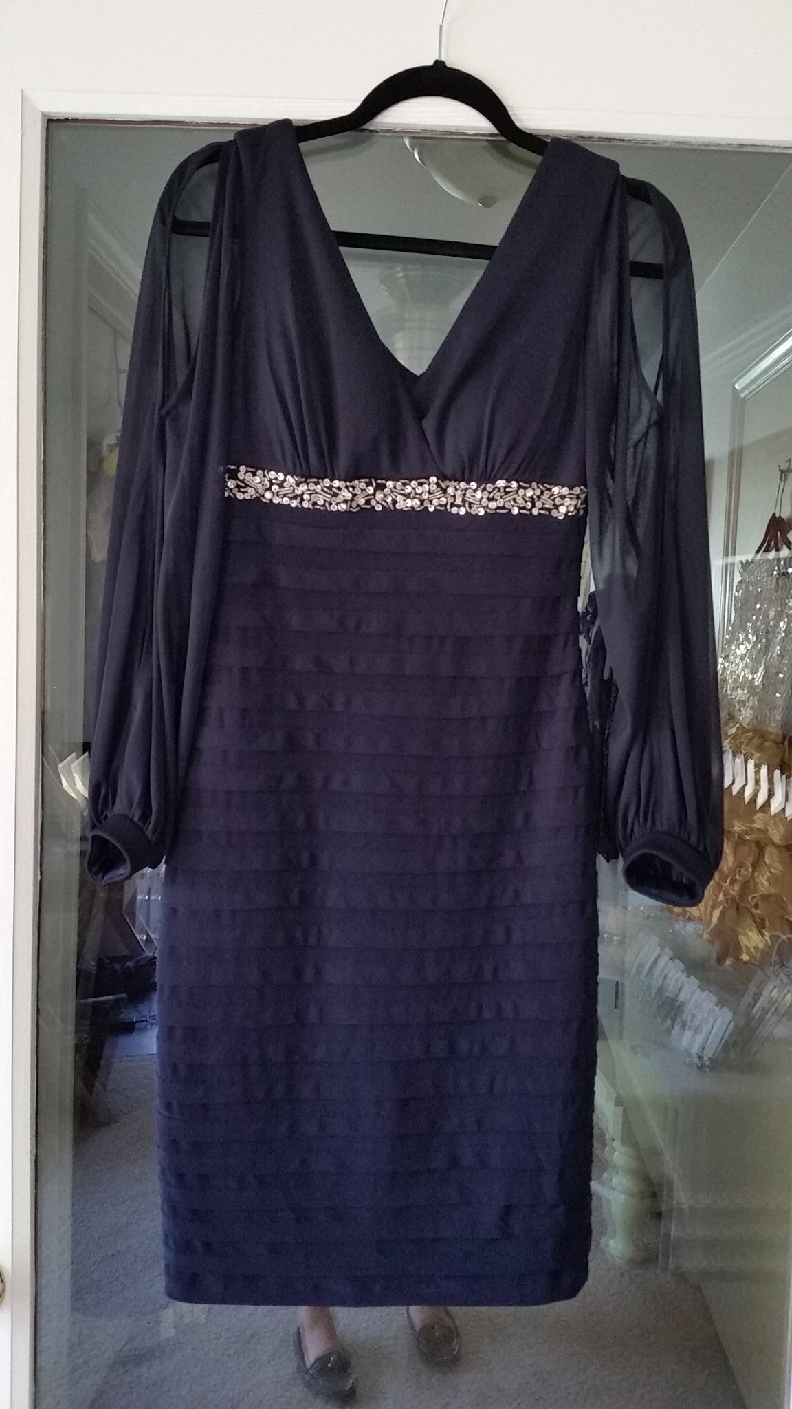 RETURNED ON 6/29/18. Blue Mini Long Sleeve V-Neck Dress by Betsy & Adam, Size 4