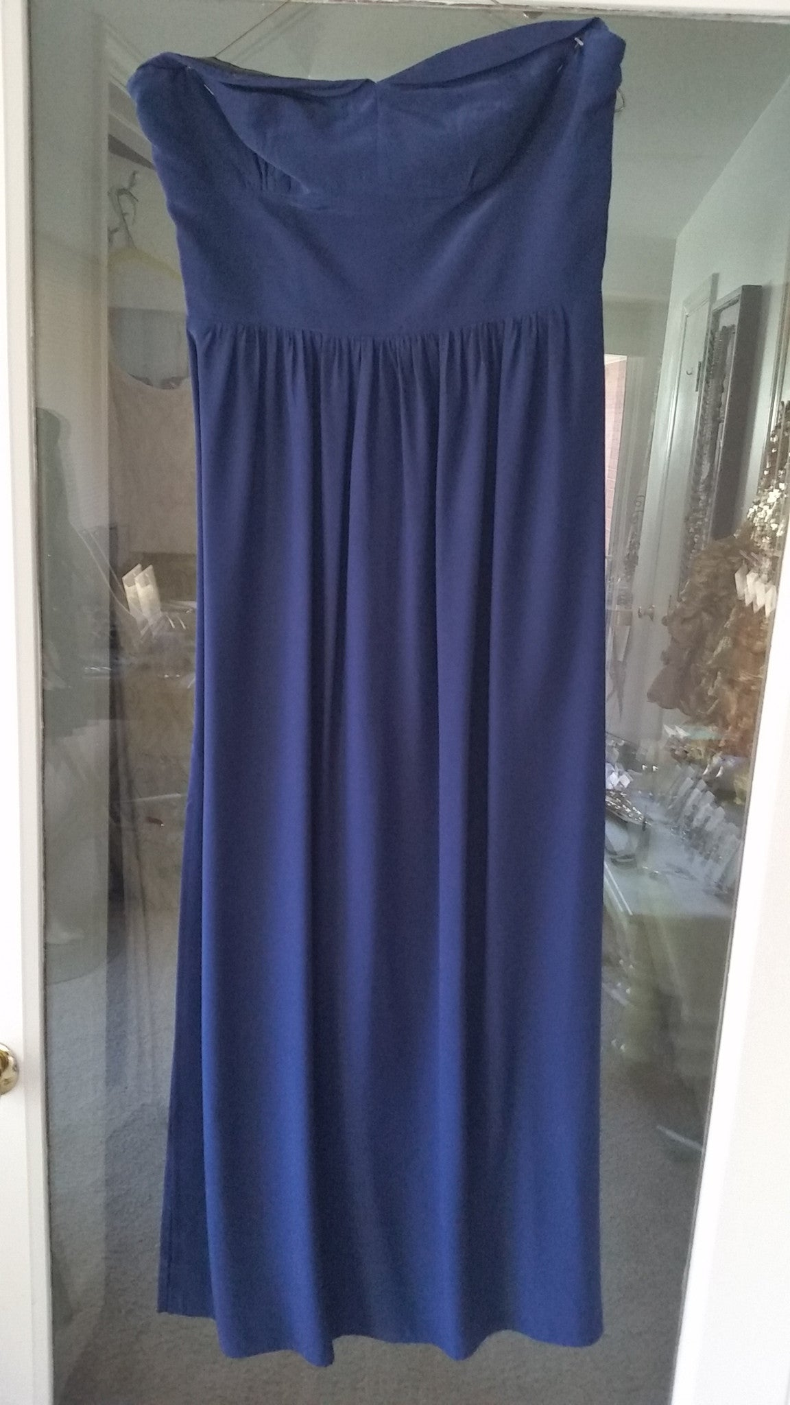 Blue Maxi Strapless Sweetheart Dress by Amanda Uprichard, Size 8