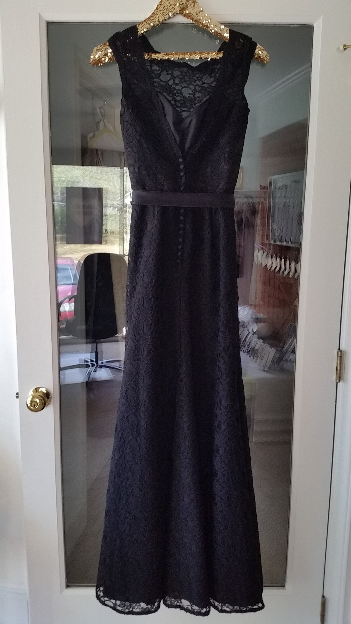 Black Maxi Sleeveless Jewel Dress by Mori Lee, Size 8