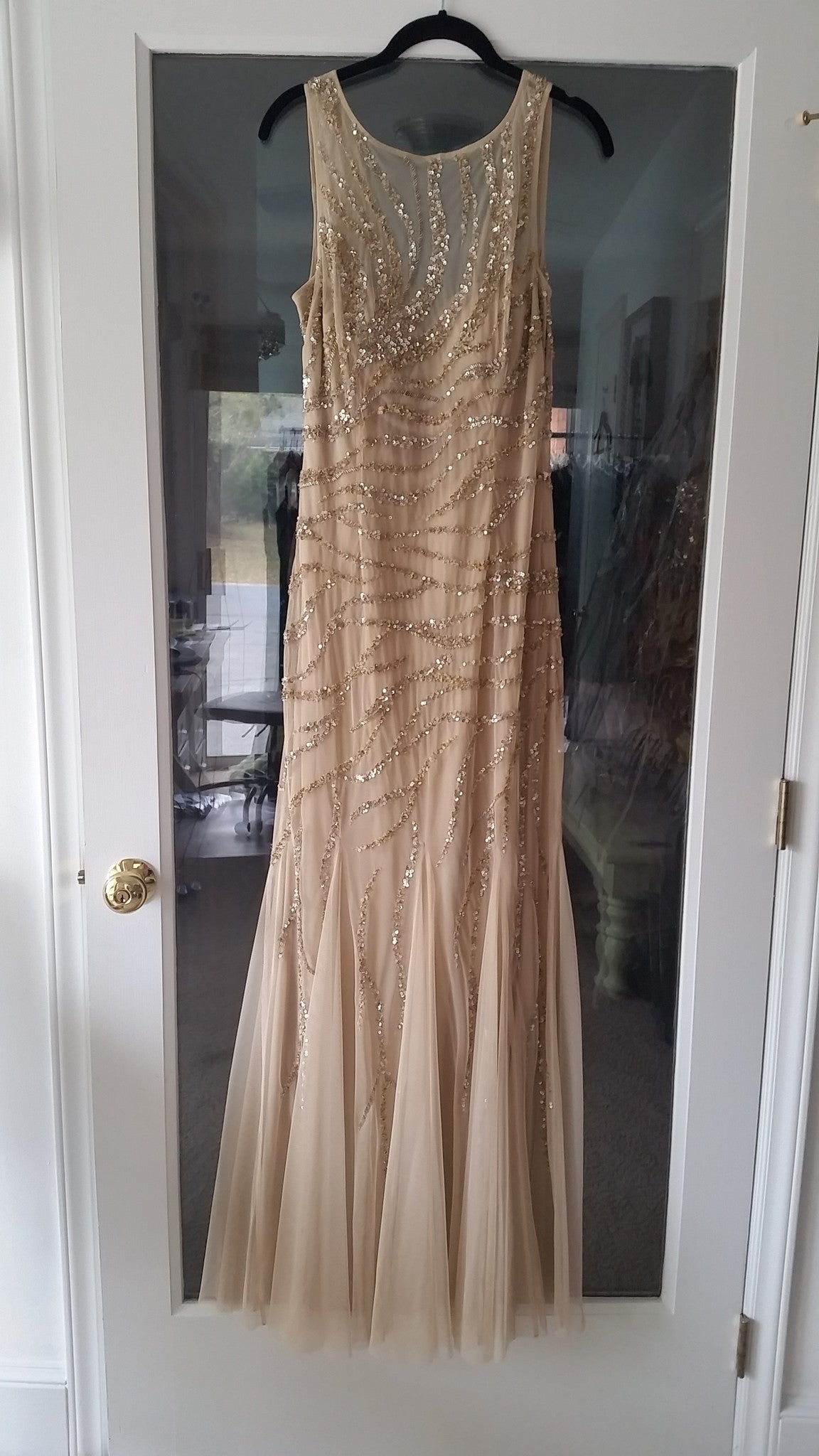 Gold Sequined Aidan Mattox Mermaid Dress, Size 8 RENT $99