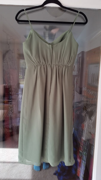 Green Midi Sleeveless V-Neck Dress by Alfred Angelo, Size 0