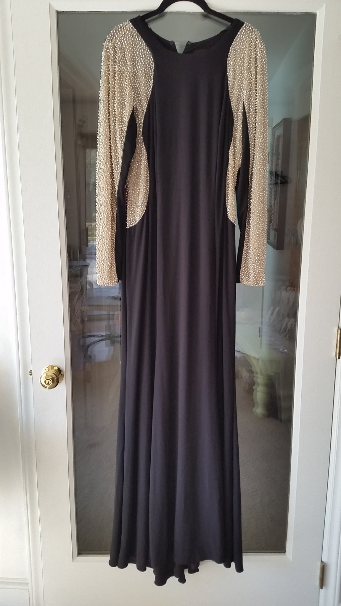 Black Maxi Long Sleeve Scoop Dress by Xscape, Size 18W