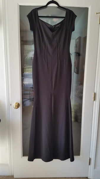 Black Maxi Short Sleeve Queen Anne Dress by Symphony, Size 16