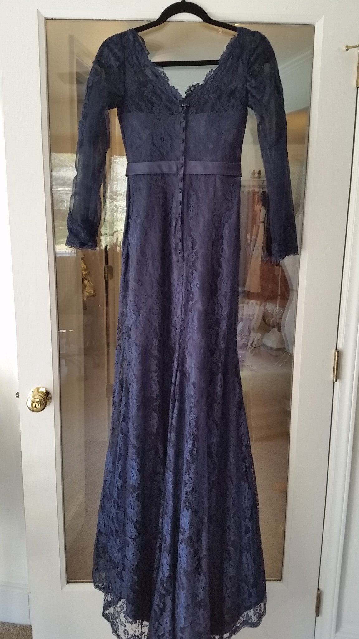 Blue Maxi Three Quarter Sleeves Jewel Dress by Dressed Charlotte, Size 2