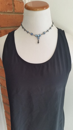 Vintage Blue Crystal Collar Necklace