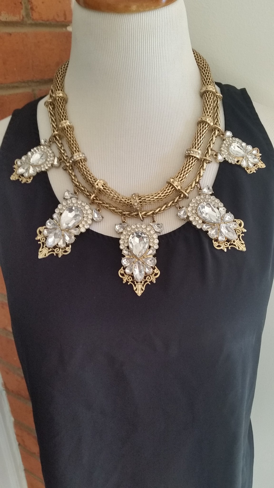 Mid Length Gold Tribal Necklace