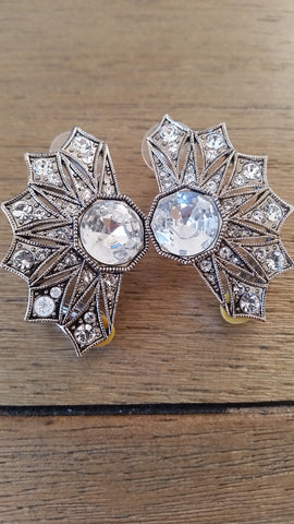 Art Deco Statement Clip Earrings