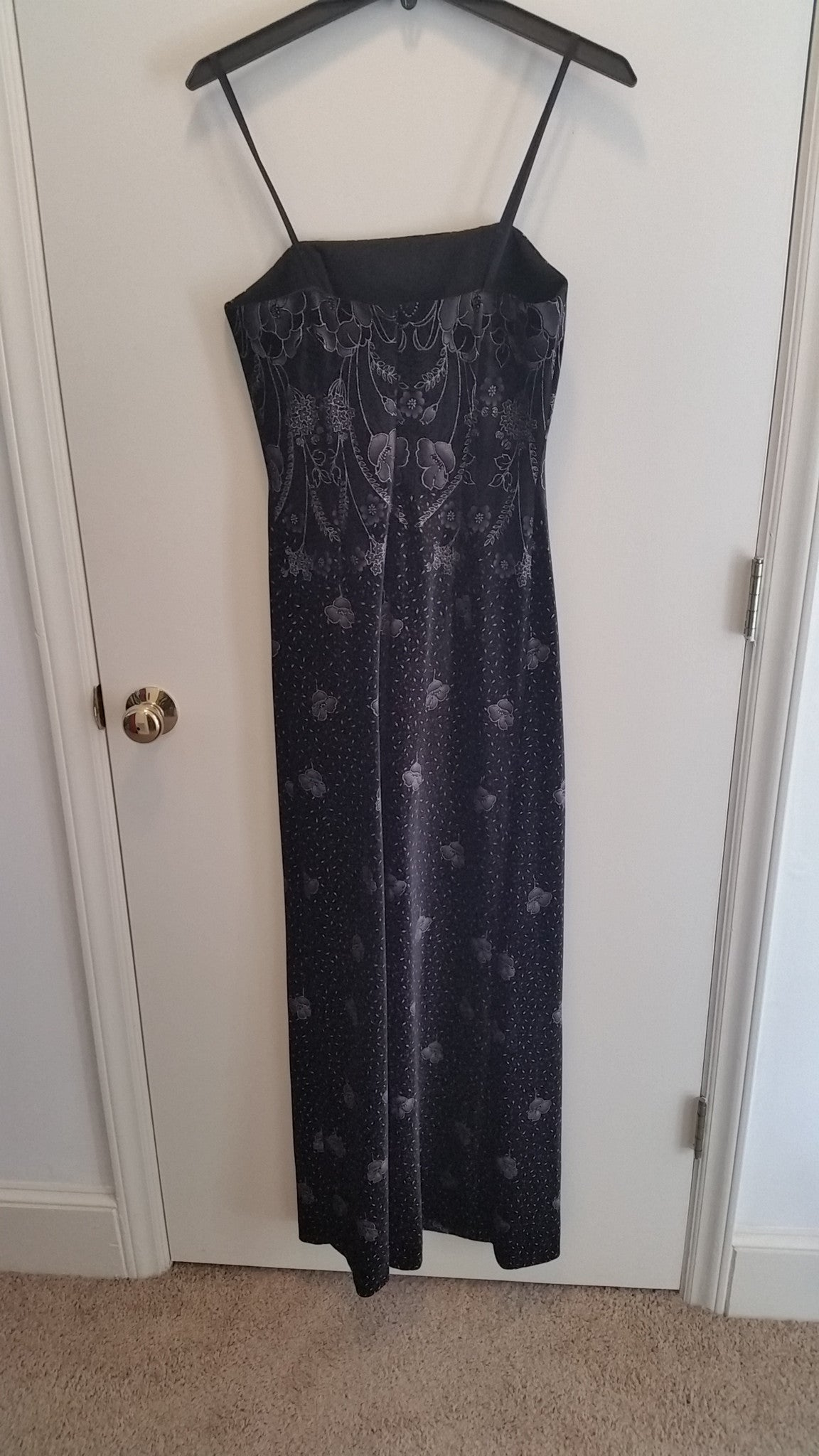Black Maxi Strapless Straight Across Dress by Papell Evening, Size 4