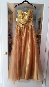 Gold Maxi Strapless Sweetheart Dress by Unlabeled, Size 6