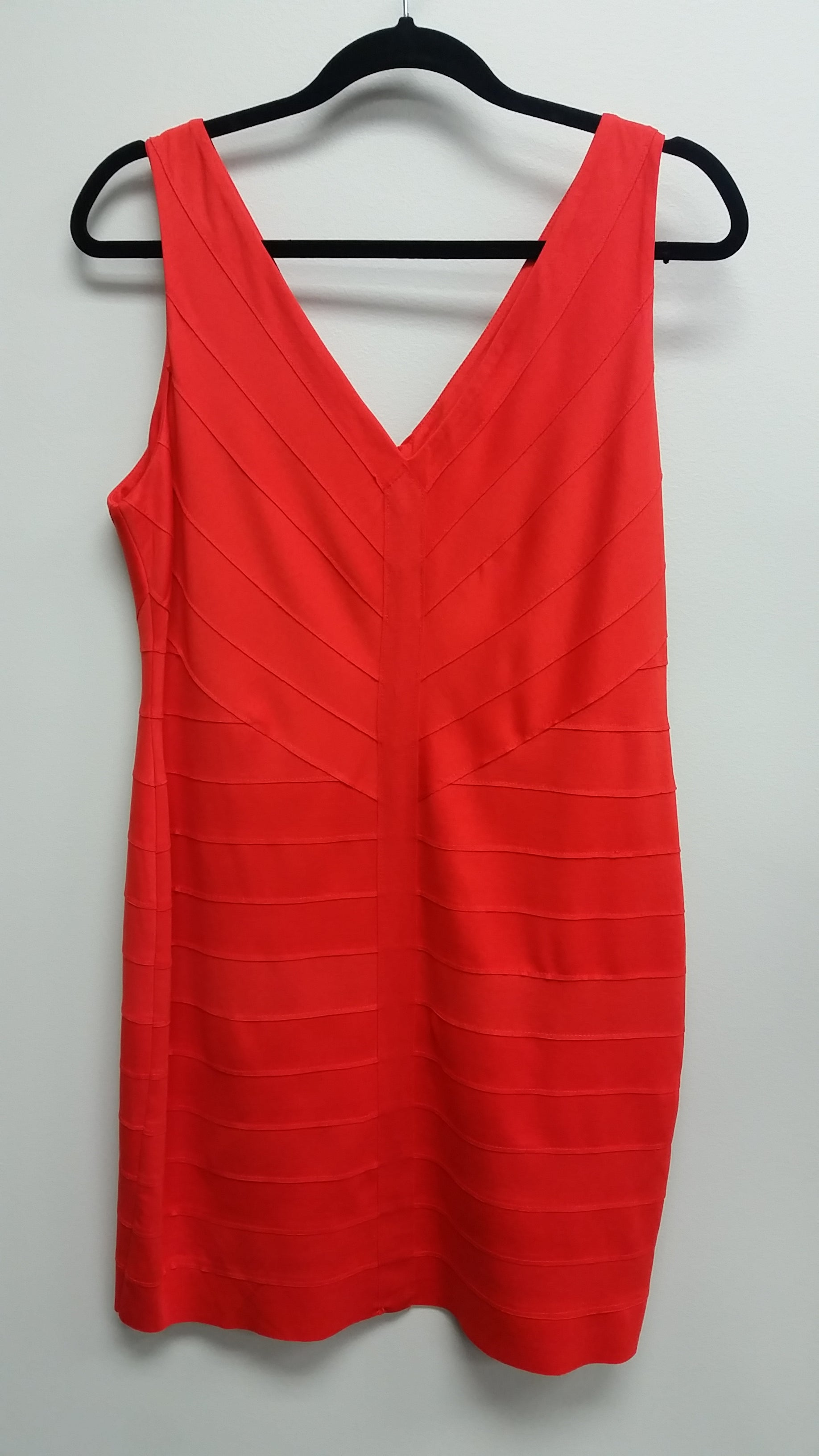 Orange Mini Sleeveless V-Neck Dress by 548, Size 12