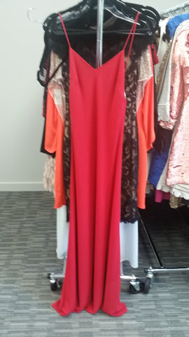 Red Long Sleeveless V-Neck Dress by Maghan, Size 4