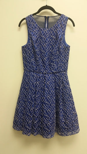 Blue Lace Midi Sleeveless Jewel Dress by Xscape, Size 6 FOR RENT $49
